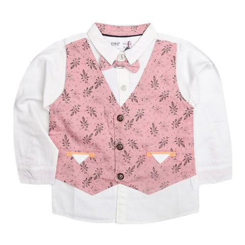 Boys Waistcoat Shirt - Dark Pink - test-store-for-chase-value