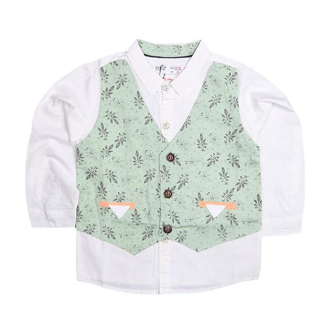 Boys Waistcoat Shirt - Green - test-store-for-chase-value