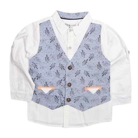 Boys Waistcoat Shirt - Blue - test-store-for-chase-value