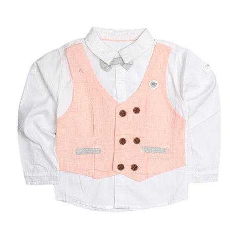 Boys Waistcoat Shirt - Peach - test-store-for-chase-value