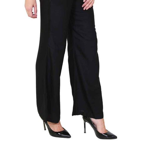 Women's Plain Palazzo - Black - test-store-for-chase-value