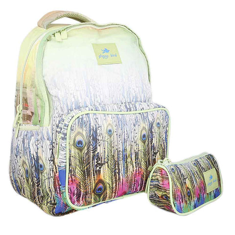 School Bag 2291 - peacock feathers