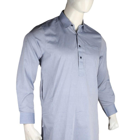 Men's Slim Fit Shalwar Suit - Sky Blue - Cream - test-store-for-chase-value