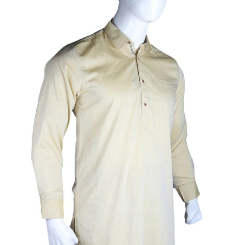 Men's Slim Fit Shalwar Suit - Yellow - Cream - test-store-for-chase-value