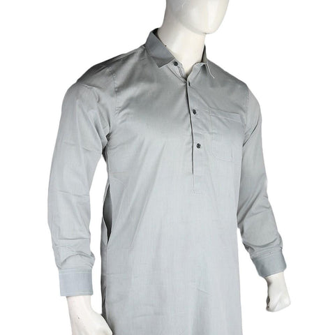 Men's Slim Fit Shalwar Suit - Grey - Cream - test-store-for-chase-value