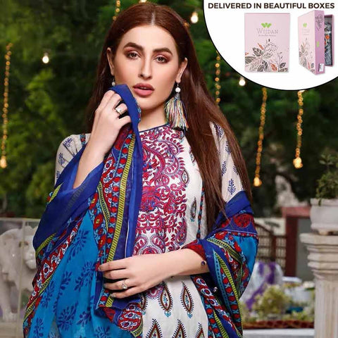 Zobia Noor Embroidered Lawn 3 Piece Un-Stitched Suit - ZN-01A