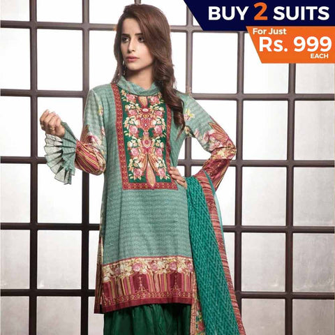 Rangreza Printed Lawn 3 Piece Un-Stitched Suit Vol-1 - 6 A