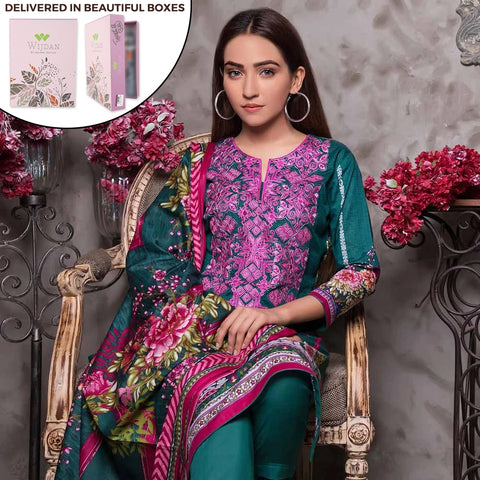 Noor Fatima Embroidered Lawn 3 Piece Un-Stitched Suit - A6