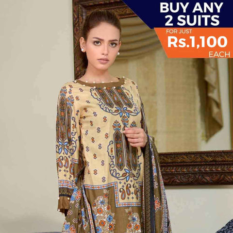 Three Star Printed Cotton 3 Piece Un-Stitched Suit - 12A