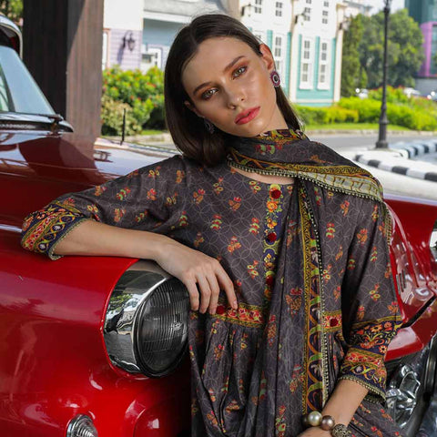 Salina Digital Printed Cotton Satin 3 Piece Un-Stitched Suit - 13