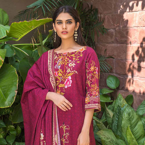 Digital Printed Khaddar 3 Piece Un-Stitched Suit - 13
