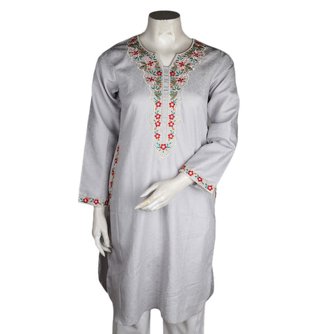 Women's Eminent Embroidered Kurti - Grey - test-store-for-chase-value