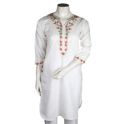 Women's Eminent Embroidered Kurti - Off White - test-store-for-chase-value