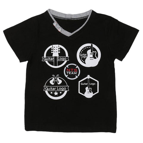Boys V Neck T-Shirt - Black - test-store-for-chase-value