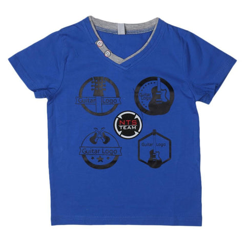Boys V Neck T-Shirt - Blue - test-store-for-chase-value