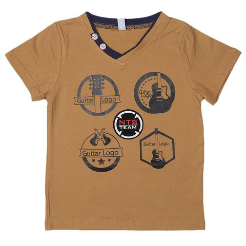 Boys V Neck T-Shirt - Brown - Coffee - test-store-for-chase-value
