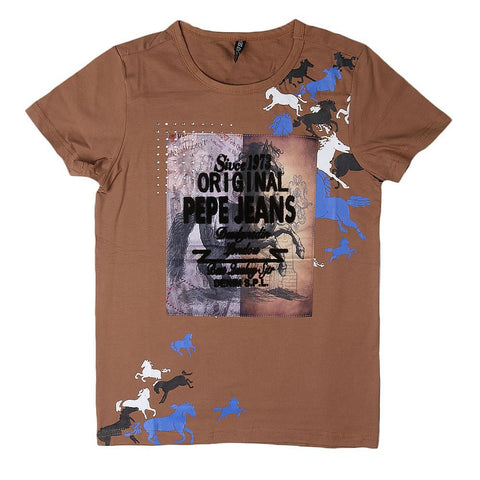 Boys Round Neck T-Shirt - Brown - Coffee - test-store-for-chase-value