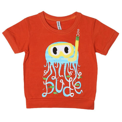 Boys Round Neck T-Shirt - Rust - test-store-for-chase-value