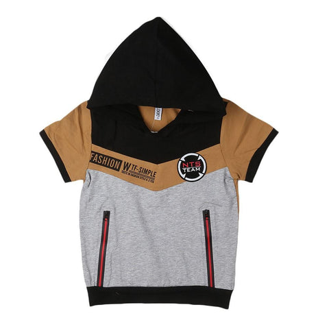 Boys Hooded T-Shirt - Brown - Coffee - test-store-for-chase-value