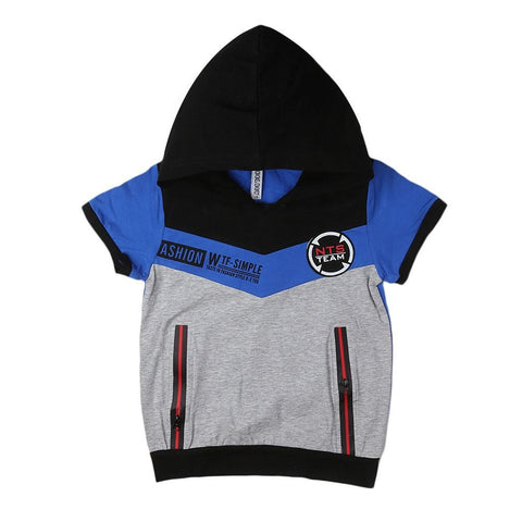 Boys Hooded T-Shirt - Blue - test-store-for-chase-value