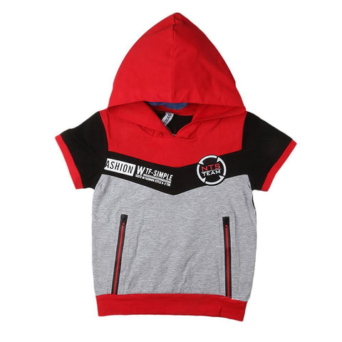 Boys Hooded T-Shirt - Red - test-store-for-chase-value