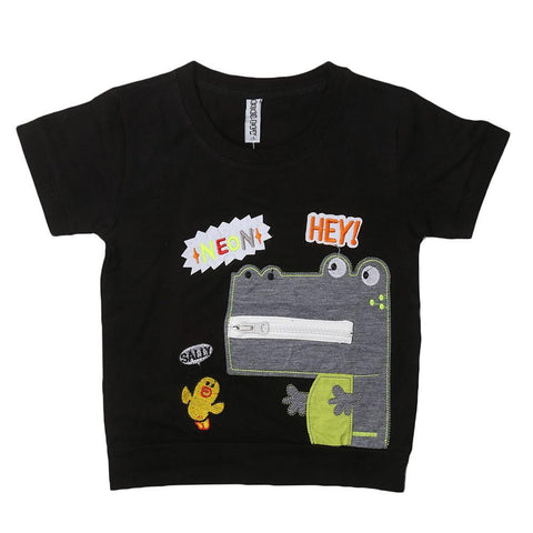 Boys Round Neck T-Shirt - Black - test-store-for-chase-value