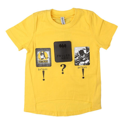 Boys Round Neck T-Shirt - Yellow - test-store-for-chase-value