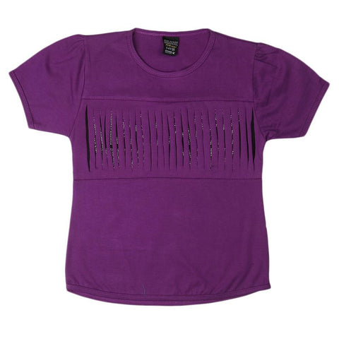 Girls Round Neck T-Shirt - Purple - test-store-for-chase-value
