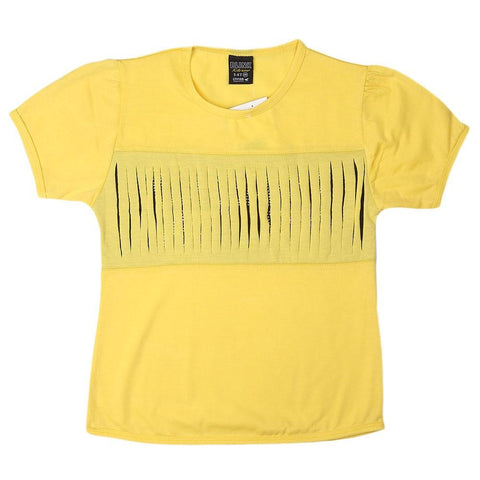 Girls Round Neck T-Shirt - Yellow - test-store-for-chase-value