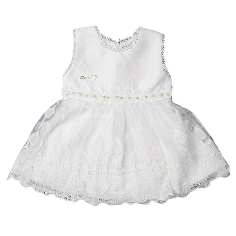 Newborn Girls Frock - White - test-store-for-chase-value
