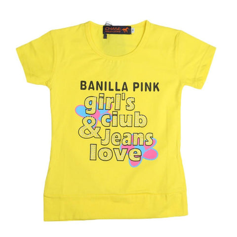 Girls Printed T-Shirt - Yellow - test-store-for-chase-value