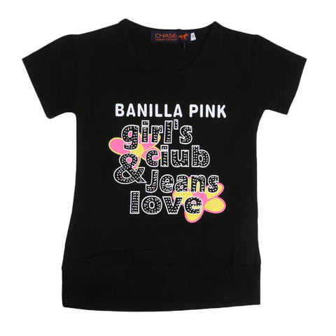 Girls Printed T-Shirt - Black - test-store-for-chase-value