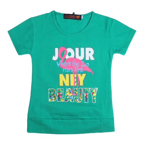 Girls Printed T-Shirt - Green - test-store-for-chase-value