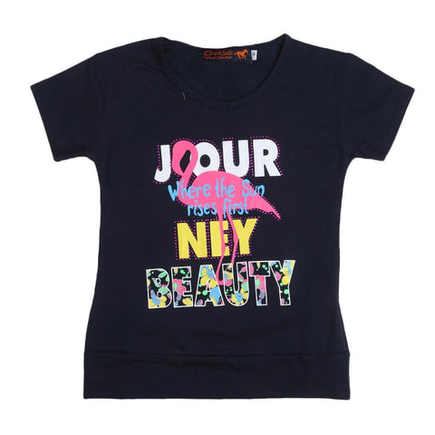 Girls Printed T-Shirt - Navy Blue - Navy/Blue - test-store-for-chase-value