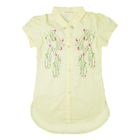 Girls Embroidered Shirt - Yellow - test-store-for-chase-value
