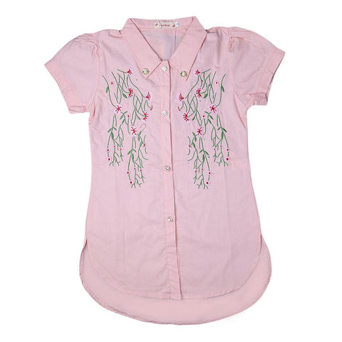 Girls Embroidered Shirt - Peach - test-store-for-chase-value