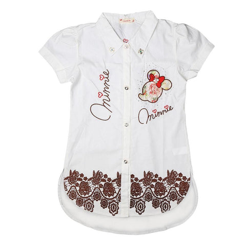 Girls Embroidered Shirt - White - test-store-for-chase-value