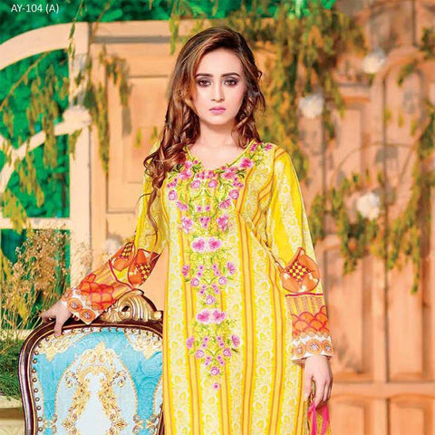 Rana Arts Allure Embroidered Lawn Collection 2018 - (AY104-A) - test-store-for-chase-value