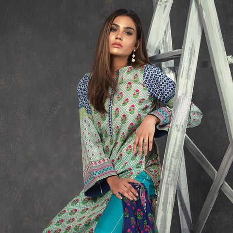 Orient Ethnic Stamp Printed Lawn Suit-B063 - test-store-for-chase-value