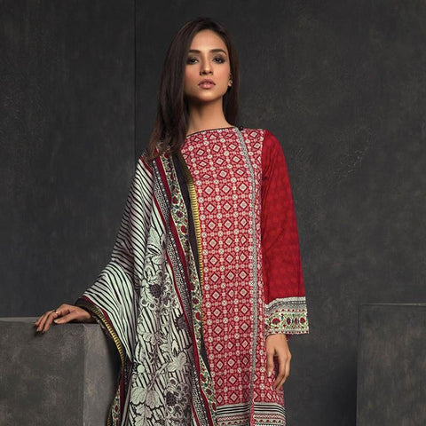 Orient Ethnic Stamp Printed Lawn Suit-A071 - test-store-for-chase-value