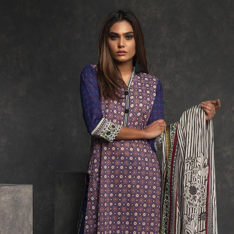 Orient Ethnic Stamp Printed Lawn Suit-B071 - test-store-for-chase-value