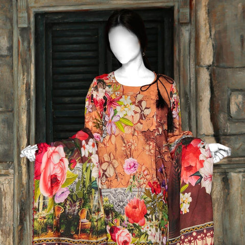 Nur Zara Premium Digital Printed Lawn Suit-CLD102 - test-store-for-chase-value
