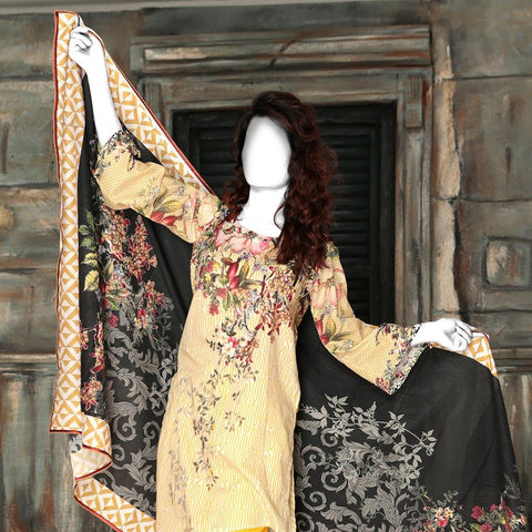 Nur Zara Premium Digital Printed Lawn Suit-CLD105 - test-store-for-chase-value