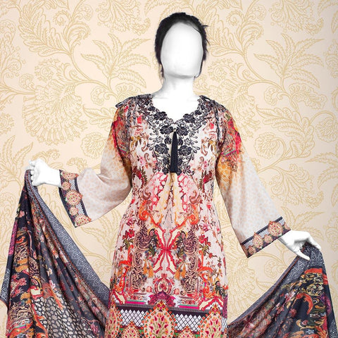 Nur Zara Premium Embroidered Lawn Suit-CLE123 - test-store-for-chase-value