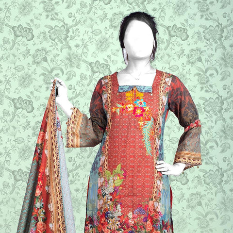 Nur Zara Premium Embroidered Lawn Suit-CLE129 - test-store-for-chase-value