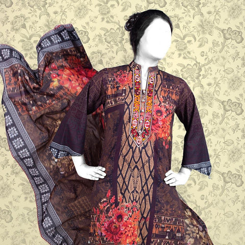 Nur Zara Premium Embroidered Lawn Suit-CLE130 - test-store-for-chase-value