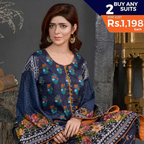 Three Star Printed Lawn 3 Piece Un-Stitched Suit Vol 1 - 7 B