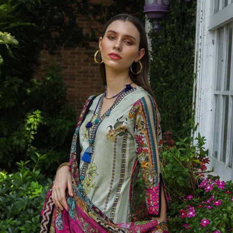 Salina Digital Printed Cotton Satin 3 Piece Un-Stitched Suit - 14