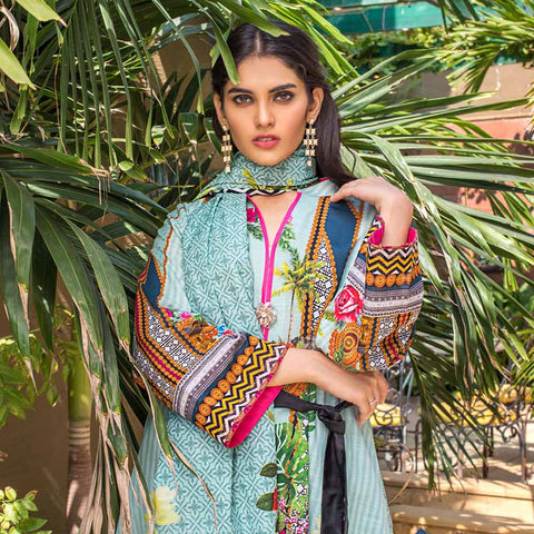 Digital Printed Khaddar 3 Piece Un-Stitched Suit - 14
