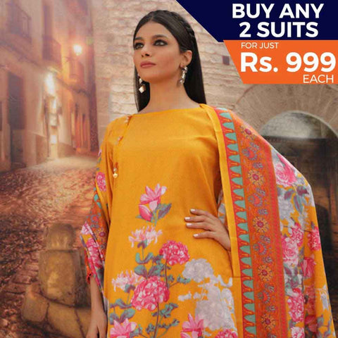 Rangreza Printed Cotton 3 Piece Un-Stitched Suit - 14